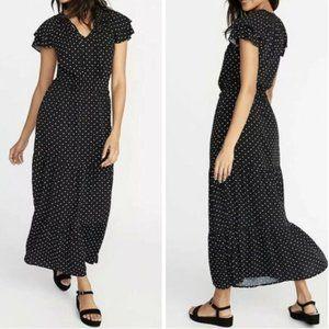 old navy black and white polka dot maxi dress - L